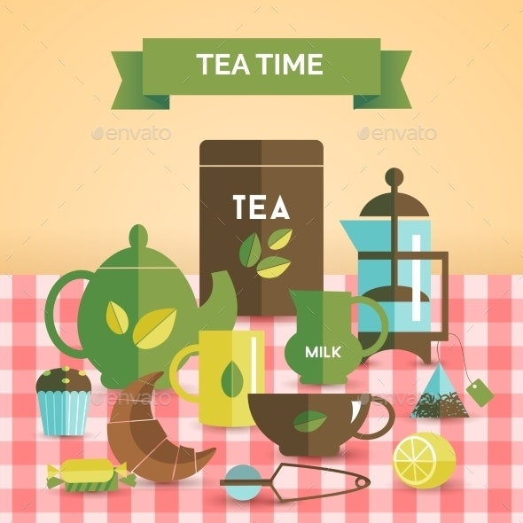 Tea Time Vintage Decorative Poster Print - Food Objects
