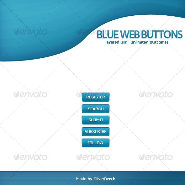 Blue Web Buttons - Buttons Web Elements