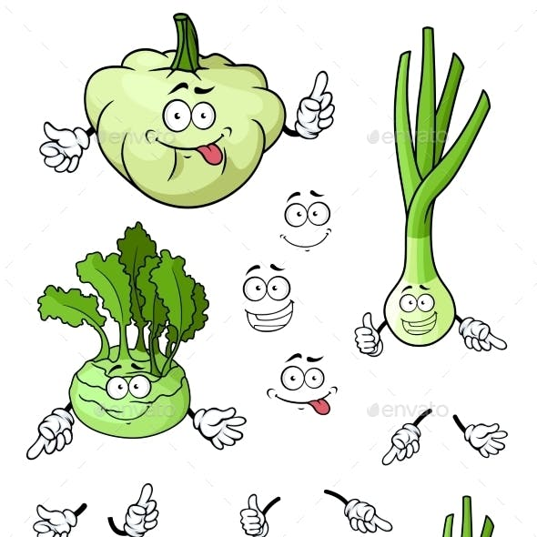 Cartoon Onion, Squash, Kohlrabi Vegetables