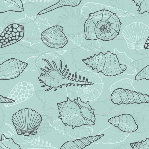 Decorative Vector Seamless Pattern Of Sea Shells