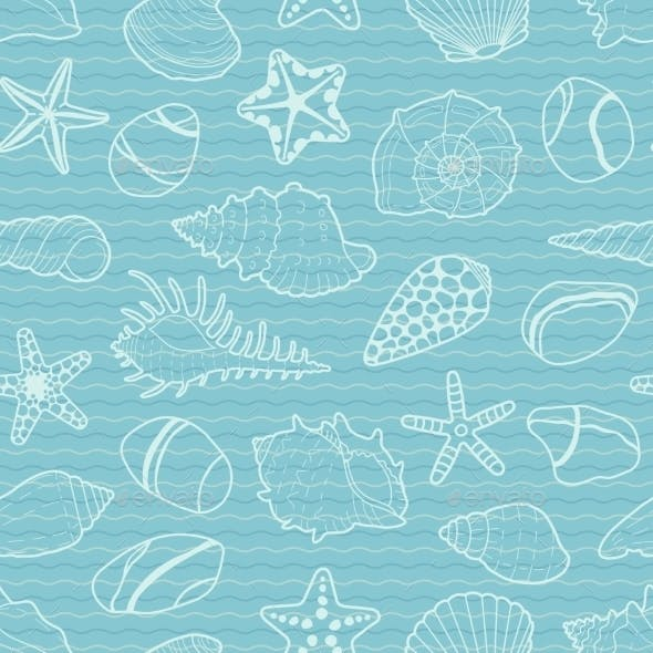 Vector Pattern Of White Sea Shells, Stars, Stones