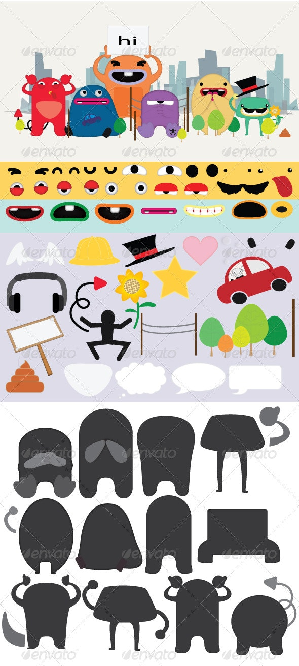 Retro Monster do it Yourself Pack! - Monsters Characters