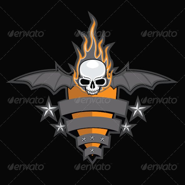 Crest with Skull, Bat Wings and Fire