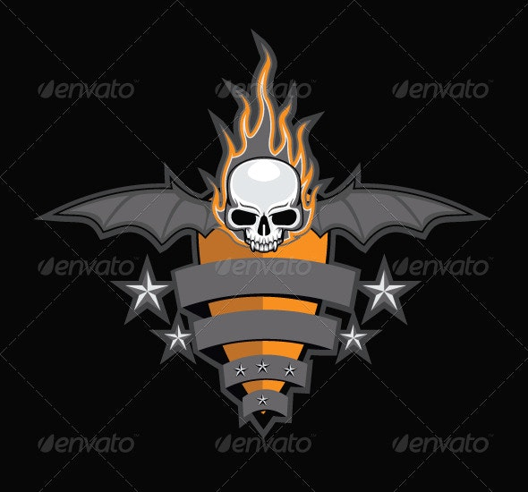 Crest with Skull, Bat Wings and Fire - Miscellaneous Vectors