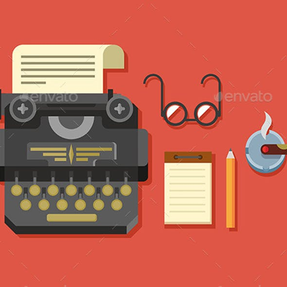 Typewriter With Sheet Of Paper, Glasses, Notepad
