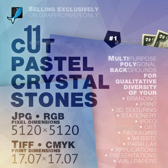 Pastel Crystal Stones Backgrounds — CMYK and RGB