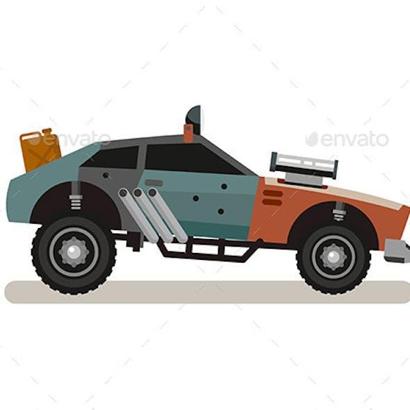 Tuned Retro Car In Flat Style