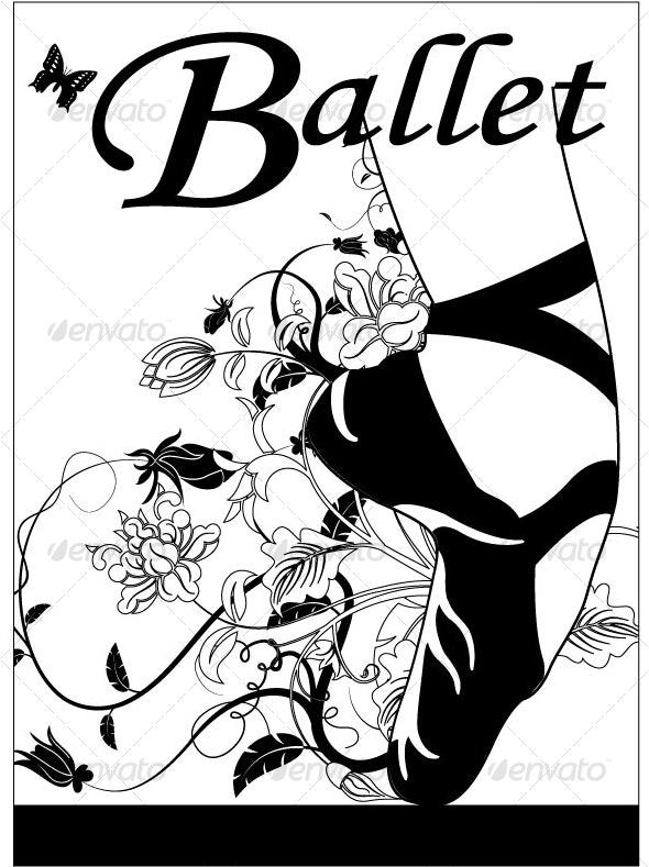 Ballet Shoe With Flower Petals - Flourishes / Swirls Decorative