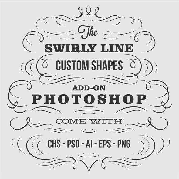 Swirly Line Vintage Custom Shapes For Photoshop