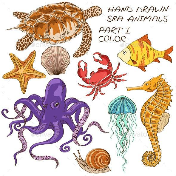 Set of Isolated Sea Animals
