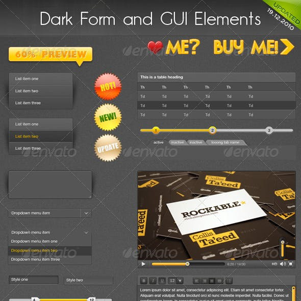 Dark Form and GUI Web Elements