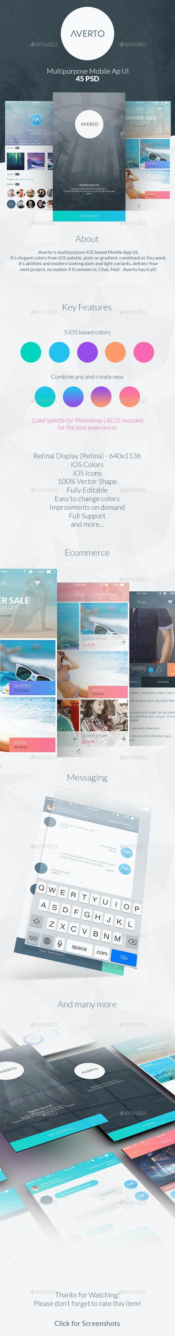 Averto - Multipurpose Mobile App UI - User Interfaces Web Elements