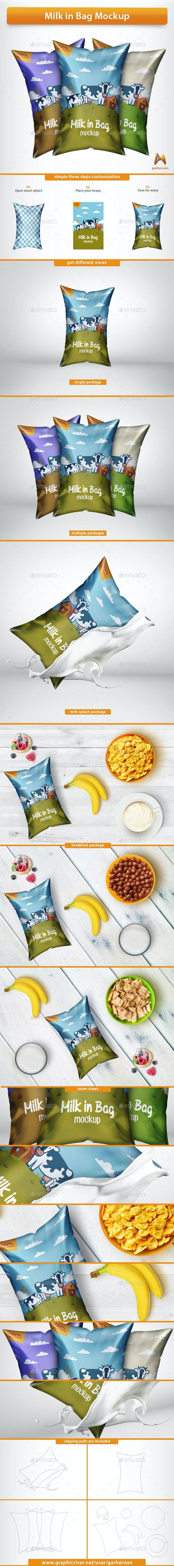 Milk in Bag Mockup - Food and Drink Packaging