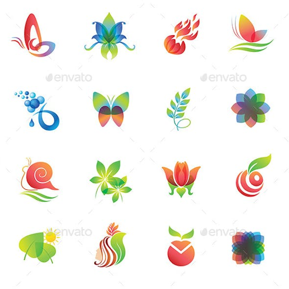 Set of Colorful Design Elements. Nature Icons.