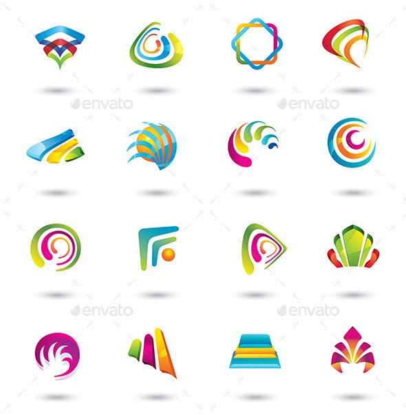 Abstract Colorful Design Elements and Icons. - Abstract Icons