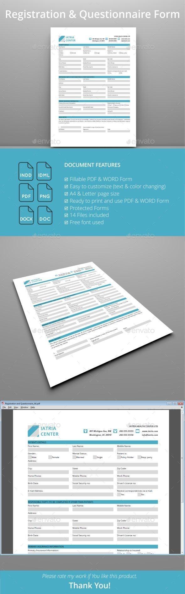 Registration and Questionnaire PDF Form  - Miscellaneous Print Templates