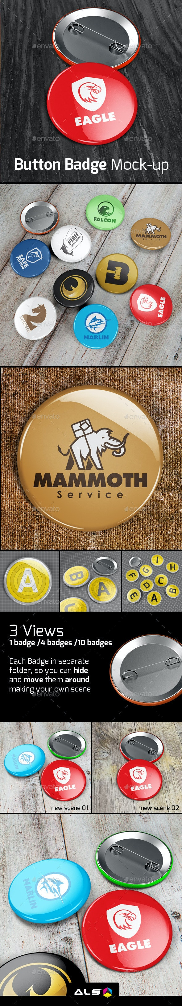 Button Badge Mock-up - Miscellaneous Print