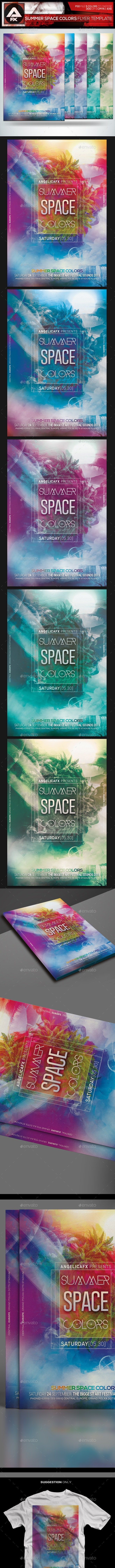 Summer Space Colors Flyer Template - Flyers Print Templates