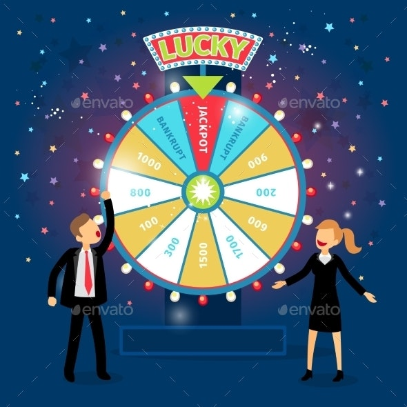 Business People With Financial Wheel Of Fortune - Miscellaneous Conceptual