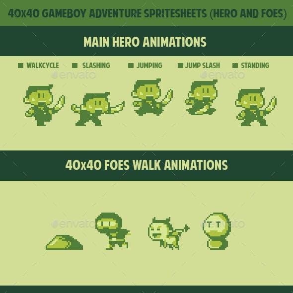 40x40 Game boy adventurer spritesheets