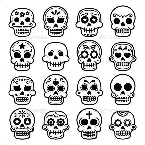 Halloween, Mexican sugar skull, Dia de los Muertos
