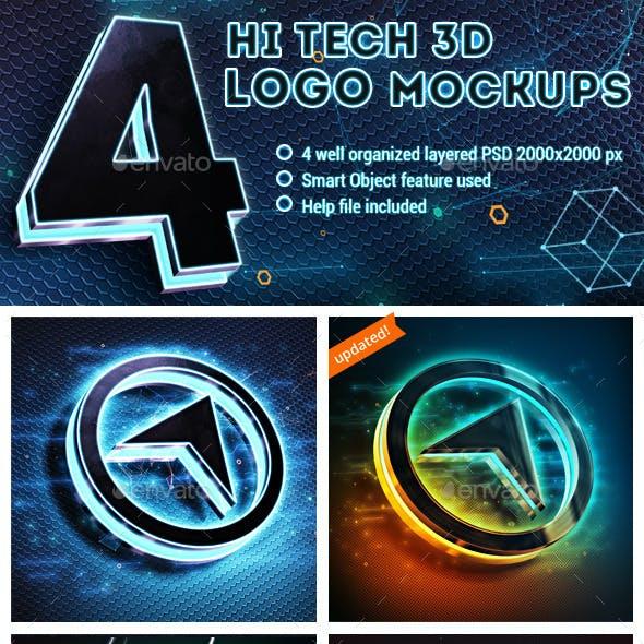 4 Hi-Tech 3D Logo Mockups