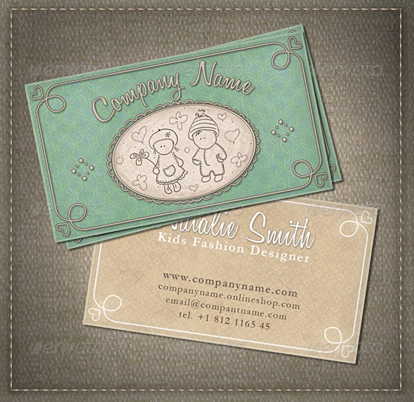 Kids and Babies Business Card - Retro/Vintage Business Cards