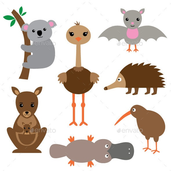 Australian Animals Set - Animals Characters