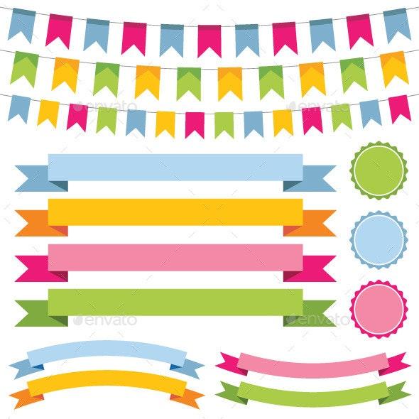 Bunting Banner Ribbons and Labels Set - Decorative Symbols Decorative