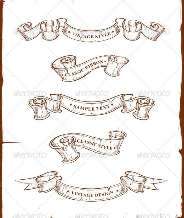 Vintage Ribbons Set - Decorative Symbols Decorative