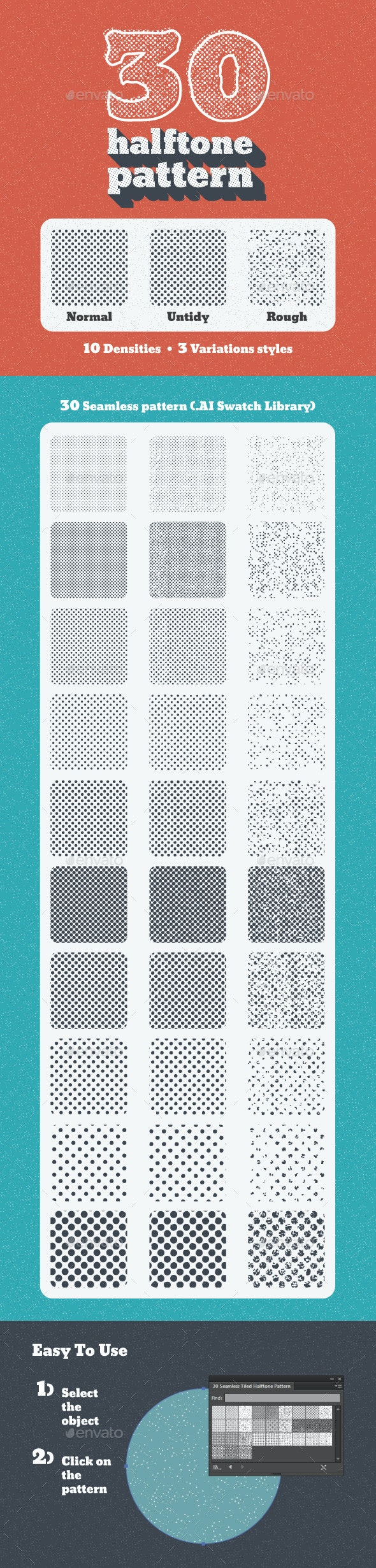 30 Seamless Tiled Halftone Patterns - Patterns Decorative