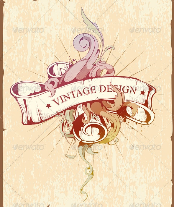 Vintage Design of Ribbon with Beautiful Pattern - Decorative Symbols Decorative