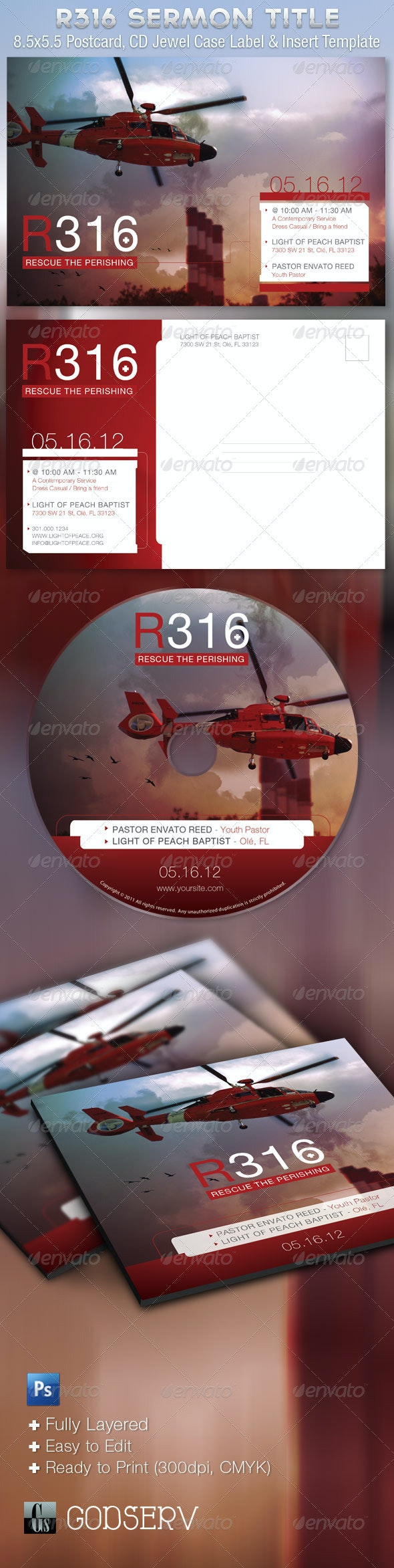 Rescue Flyer CD Photoshop Template - Church Flyers