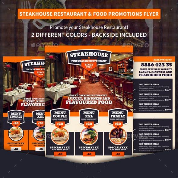 Steakhouse Restaurant & Food Promotions Flyer