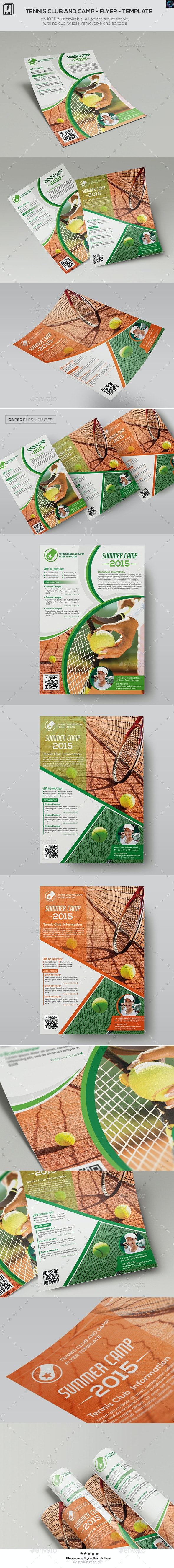 Tennis Club and Camp - Flyer Template - Sports Events