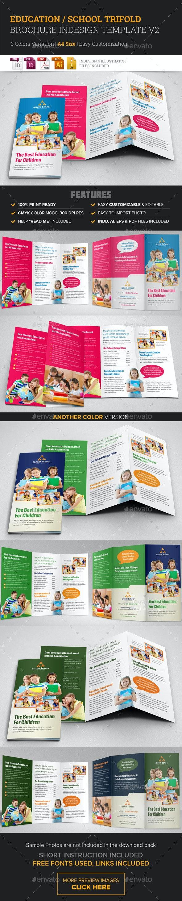 Education School Trifold Brochure Template v2  - Corporate Brochures