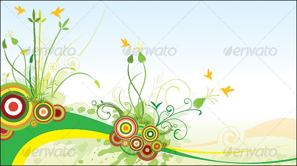 Natural Scene - Birds - Plants - Sky - Grass - Nature Conceptual