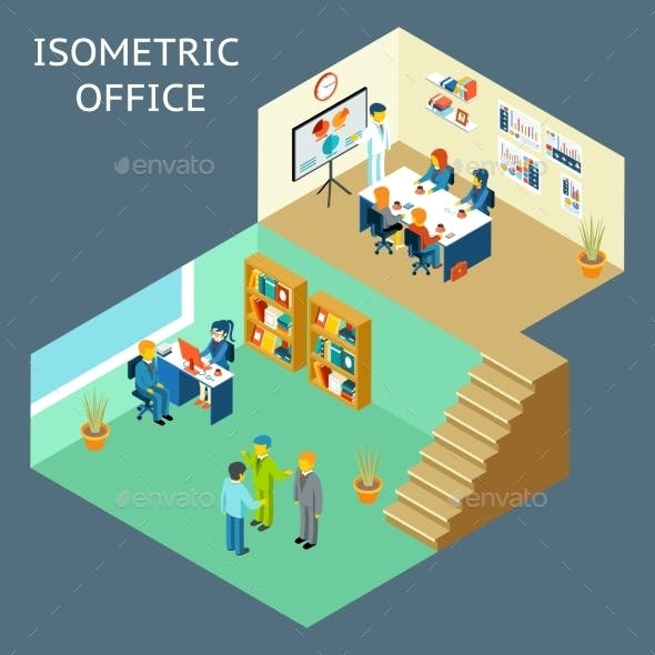 Office Work Isometric Flat 3D Office Staff