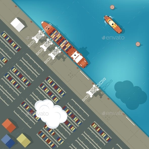 Illustration of a Cargo Port in Flat Style