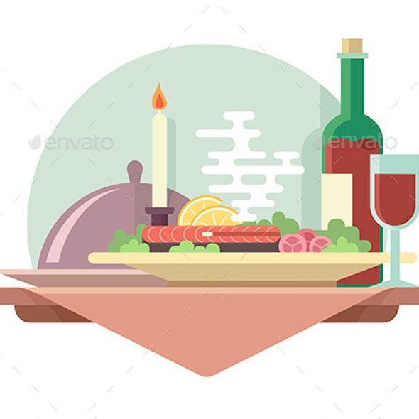 Dinner at Restaurant Illustration