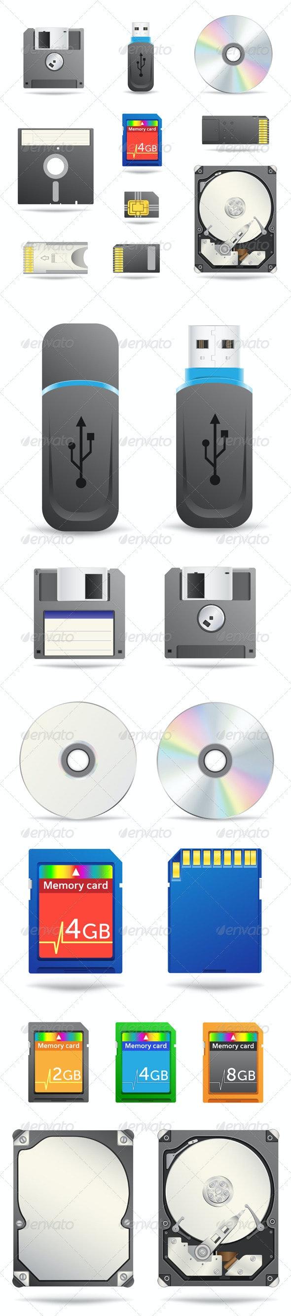 Digital data devices icon set - Technology Conceptual