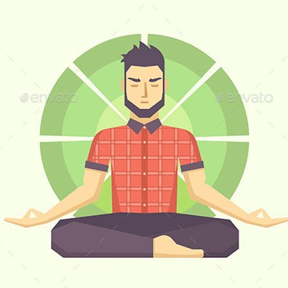Man Meditates in the Lotus Position