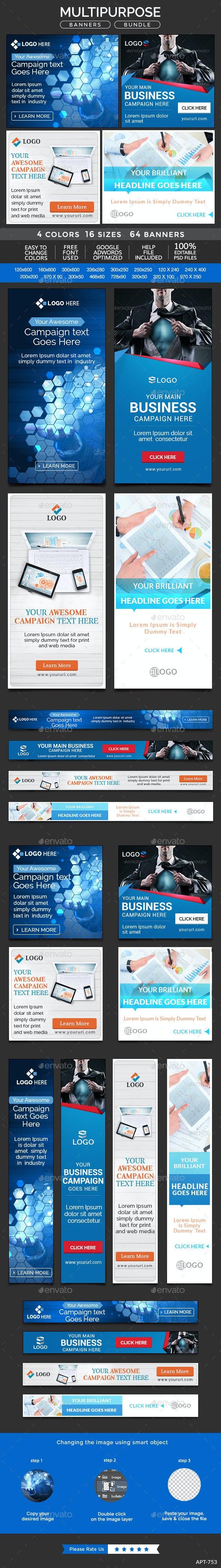 Multipurpose Banners Bundle - 4 Sets - Banners & Ads Web Elements