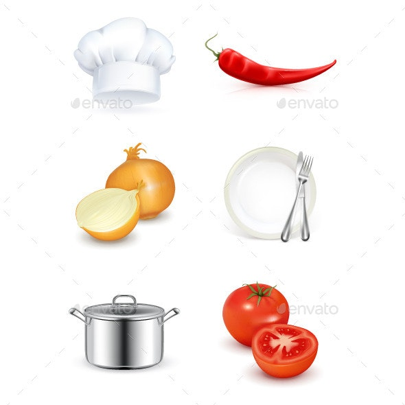 Kitchen Utensils and Vegetables - Food Objects