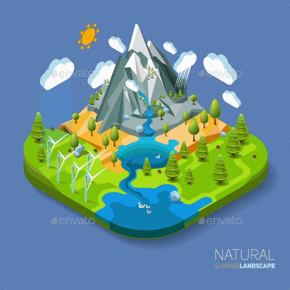 Natural Landscape with Mountains River and Forest