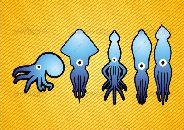 octopus and squid - Animals Characters