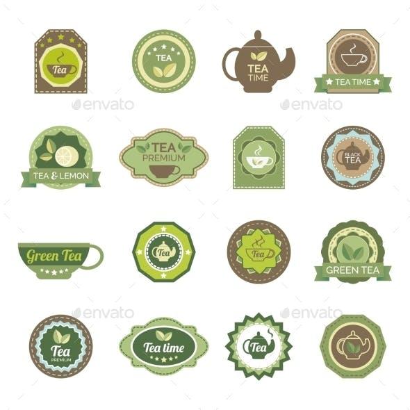 Green Tea Labels Icons Set