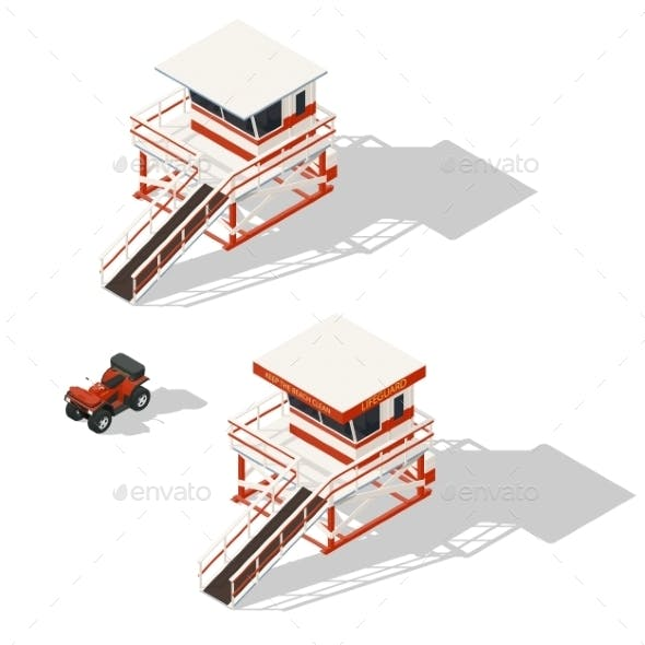 Lifeguard Tower and Quad Bike Isometric Icons Set