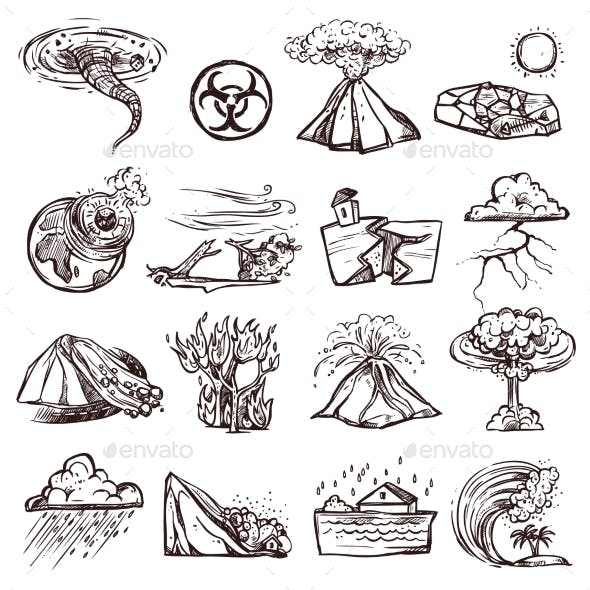 Natural Disaster Sketch Icon Set