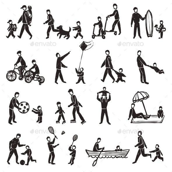 Family Activity Sketch Icon Set